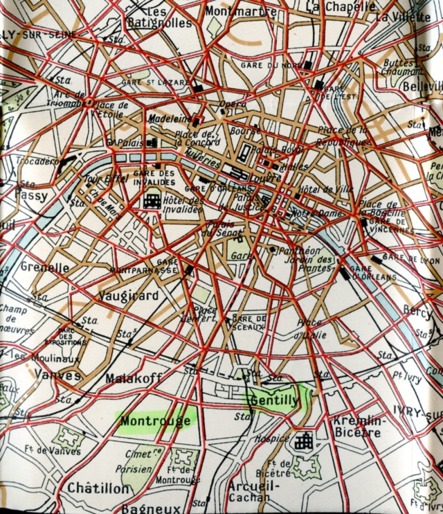 Montrouge & Gentilly, 1920's map.