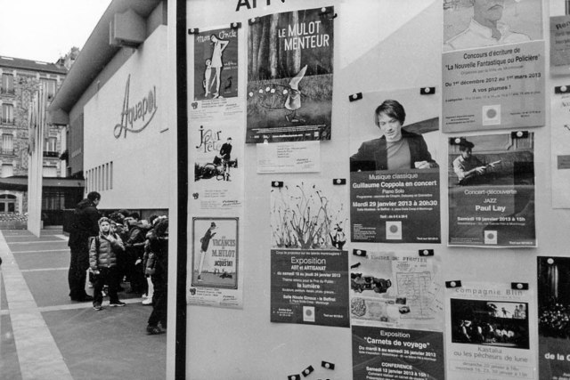 Jaques Tati film posters, and school children, Avenue Henri Ginoux, Montrouge. January 2013