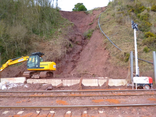 Blocked mainline, Dawlish - Teignmouth, December, 2012.