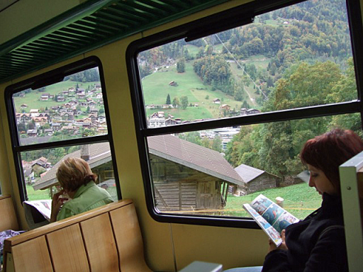 Commuters for Interlaken on the Murren - Lauterbrunnen cogwheel train, (change at Lauterbrunnen for Interlaken).  Photo  Elspeth Wight