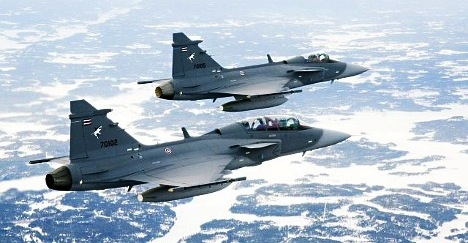 Gripen fighter aircraft.  Photo copyright:  Anders